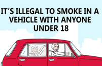 It is illegal to smoke with under 18s in the car