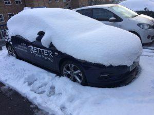 Better Driver Trainign Car under snow.