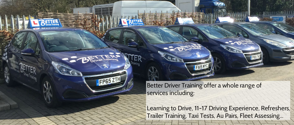 Learning to Drive, Trailer Training, Taxi Tests, 11-17, Au Pair assessments, Fleet Assessments, and more
